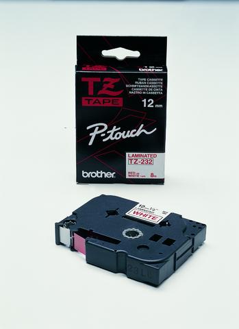 Schriftbandkassette TZe, PES, laminiert, 12 mm x 8 m, rot auf weiß
