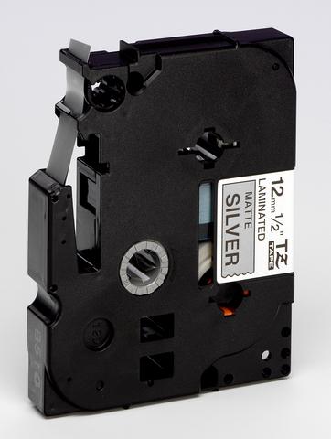 Schriftbandkassette TZe, 12 mm x 8 m, schwarz auf silber matt
