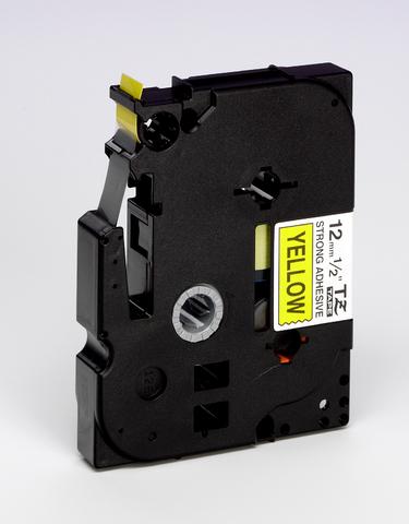 Schriftbandkassette, TZe, laminiert, 12mmx8m, schwarz auf gelb