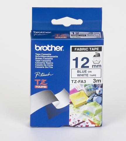 Schriftbandkassette, TZe, unlaminiert, 12mmx3m, blau auf weiß