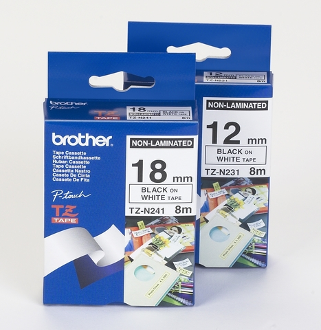 Schriftbandkassette, TZe, unlaminiert, 12mmx8m, schwarz auf weiß