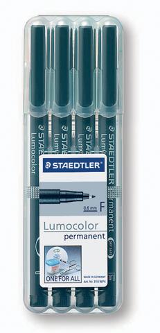 OH-Stift, Lumocolor® 318, F, perm., 0,6 mm, Schreibf.: schwarz