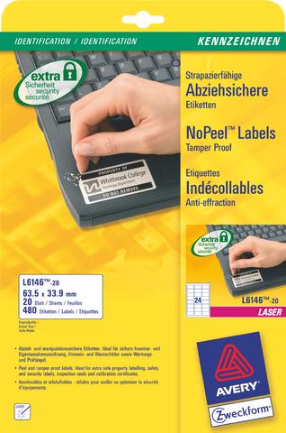 Etikett NoPeel™, L, A4-Bg., sk, perm., Pap., 63,5x33,9mm, weiß