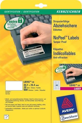 Etikett NoPeel™, L, A4-Bg., sk, perm., Pap., 45,7x25,4mm, weiß