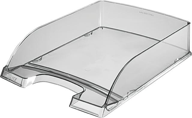 Briefkorb Plus, PS, A4, 255 x 357 x 70 mm, grau, transparent
