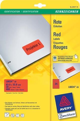 Etikett, I/L/K, A4-Bg., sk, ablösbar, Pap., 63,5x33,9mm, rot