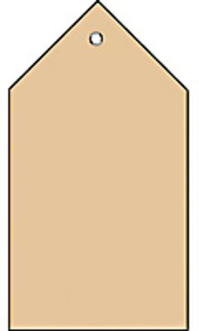 Anhängezettel, mit: Kunststofföse, Faltecken, 80 x 150 mm, braun