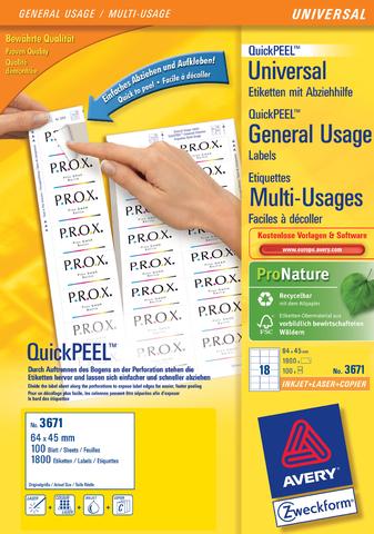 Etikett QuickPEEL™, I/L/K, A4-Bg., sk, Pap., 64x45mm, weiß