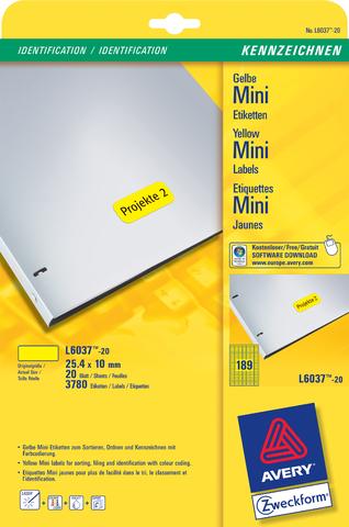 Etikett, I/L/K, A4-Bg., sk, ablösbar, Pap., 25,4x10mm, gelb