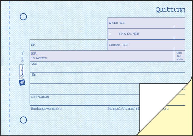 Formular Quittung Sd Mmwst A6 2x40 Bl Online Bestellen