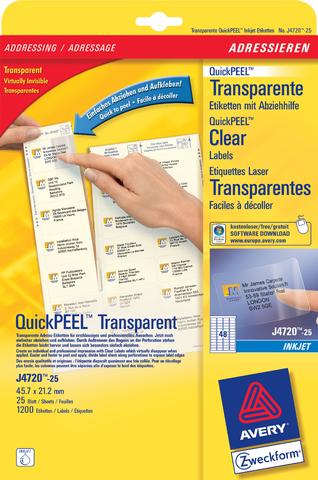 Etikett, I, A4-Bg., sk, PE-Folie, 45,7x21,2mm, tr