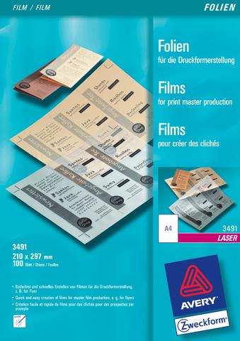 Laserfolie für Druckformerstellung, A4, 0,1mm, farbl., matt, beschich.
