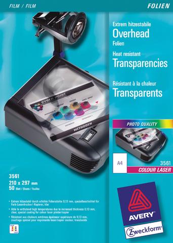 Farblaser-/-kopierfolie, A4, 0,13mm, farbl.