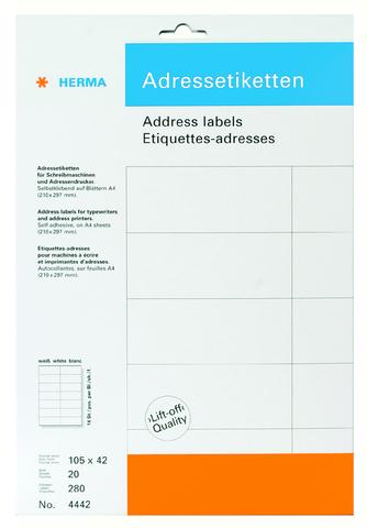 Adressetikett, Schreibmaschine, sk, spitze Ecken, 105x42mm, weiß, matt