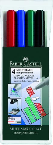 OH-Stift MULTIMARK, F, non-permanent, 0,6mm, Schreibf.: 4er sortiert