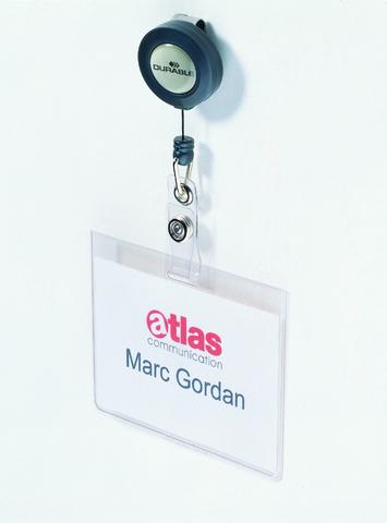 Namensschild, mit Ausweishalter, mit: Clip, Hartfol., 90x60mm, tr
