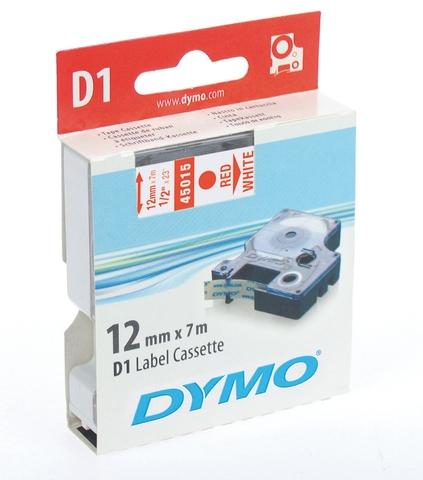 Schriftbandkassette, D1, 12 mm x 7 m, rot auf weiß