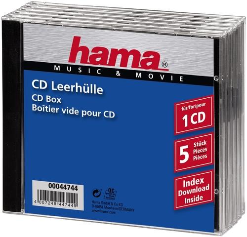 CD-Hülle JewelCase, PS, für: 1 CD/DVD, farblos/schwarz