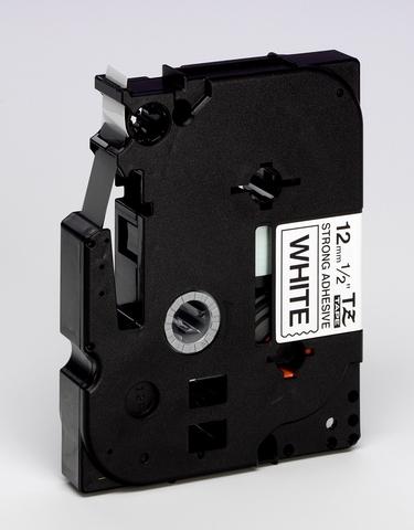 Schriftbandkassette, TZe, laminiert, 12mmx8m, schwarz auf weiß