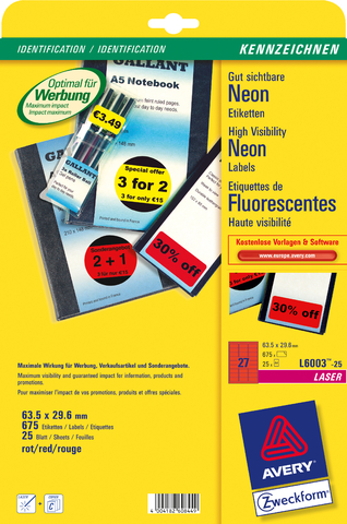 Etikett, Laser/Farblaser, sk, ablösbar, 63,5 x 29,6 mm, neonrot