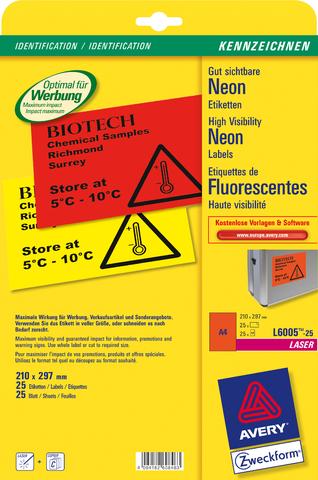 Etikett, Laser/Farblaser, sk, ablösbar, 210 x 297 mm, neonrot