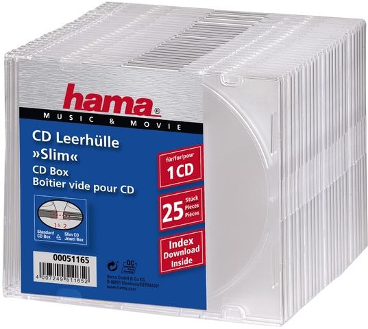 CD-Hülle Slim, Kunststoff, für: 1 CD/DVD, farblos, transparent