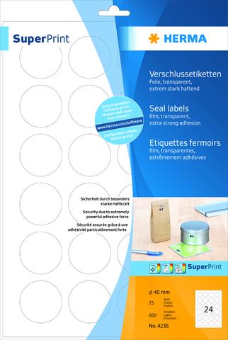 Etikett SuperPrint, L/K, A4-Bg., sk, perm., PE-Folie, Ø: 40mm, farbl.