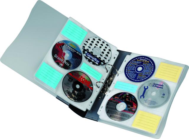 CD-Ringordner, Kst., 73x315x315mm, für: 120CDs, graphit, tr