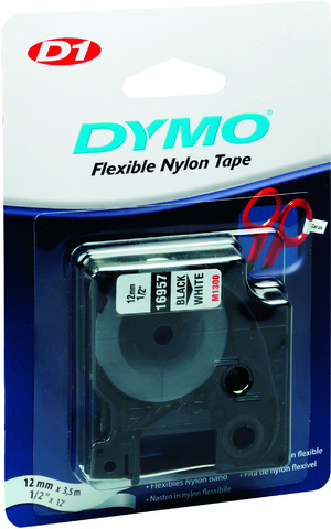 Schriftbandkassette, D1, sk, perm., 12 mm x 3,5 m, schwarz auf weiß