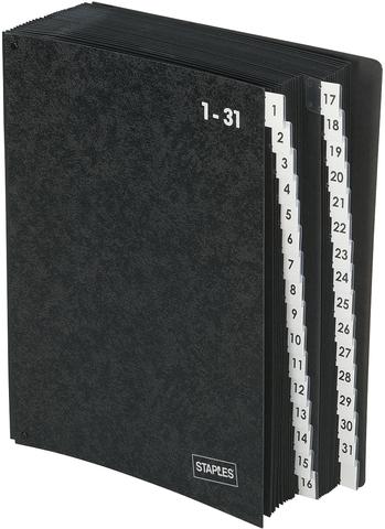 Pultordner, Hartpap.(RC), 1-31, A4, 27x34cm, 32 Fächer, schwarz