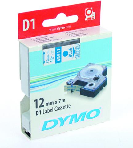 Schriftbandkassette, D1, 12 mm x 7 m, blau auf farblos