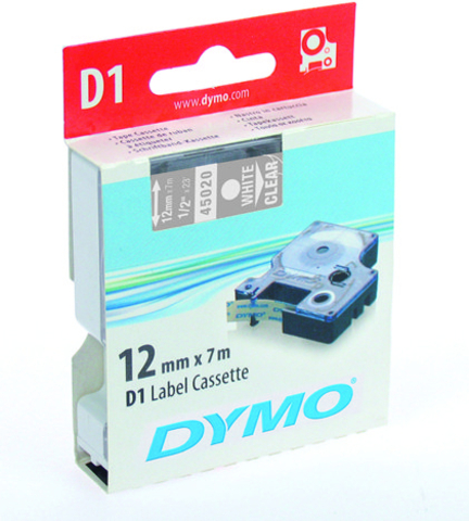 Schriftbandkassette, D1, 12 mm x 7 m, weiß auf farblos