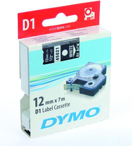Schriftbandkassette, D1, 12 mm x 7 m, weiß auf schwarz