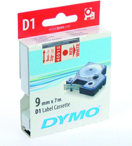 Schriftbandkassette, D1, 9 mm x 7 m, rot auf weiß