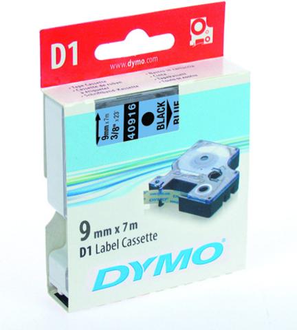 Schriftbandkassette, D1, 9 mm x 7 m, schwarz auf blau
