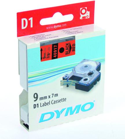 Schriftbandkassette, D1, 9 mm x 7 m, schwarz auf rot