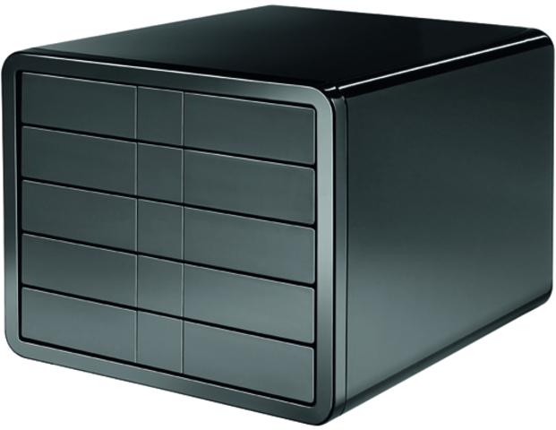 Schubladenbox iBox, PS, m. 5 geschl. Schubladen, C4, schwarz, hochgl.