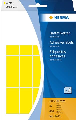 Etikett, Handbeschriftung, sk, Spezialpapier, 20 x 50 mm, gelb