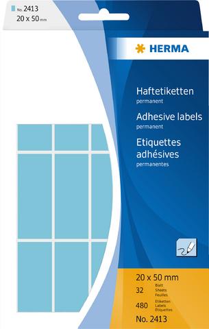 Etikett, Handbeschriftung, sk, Spezialpapier, 20 x 50 mm, blau