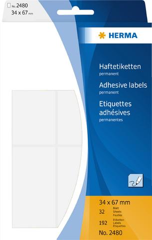 Etikett, Handbeschriftung, sk, Spezialpapier, 34 x 67 mm, weiß