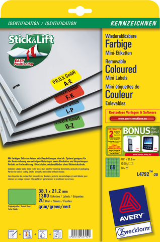 Etikett, A4-Bg., ablösbar, 38,1x21,2mm, grün