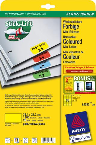Etikett, A4-Bg., ablösbar, 38,1x21,2mm, gelb