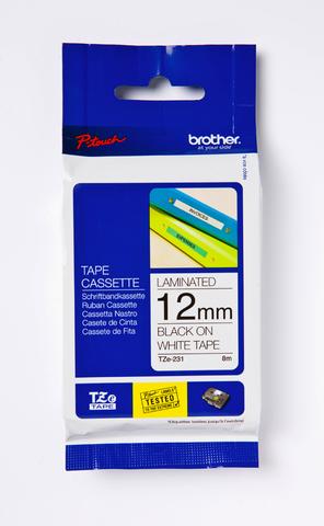 Schriftbandkassette TZe, PES, laminiert, 12 mm x 8 m, schwarz auf weiß