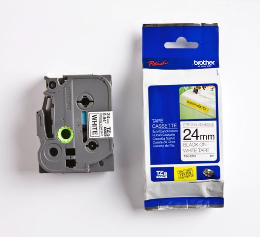 Schriftbandkassette, TZe, perm., lam., 24mmx8m, schwarz auf weiß