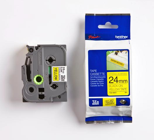 Schriftbandkassette, TZe, perm., lam., 24mmx8m, schwarz auf gelb