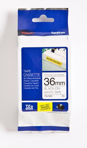 Schriftbandkassette, TZe-S, lam., 36mmx8m, schwarz auf weiß