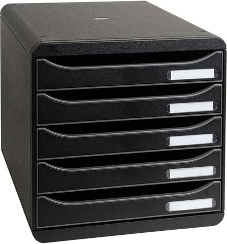 Schubladenbox BIG-BOX PLUS, mit 5 offenen Schubladen, A4+, schwarz
