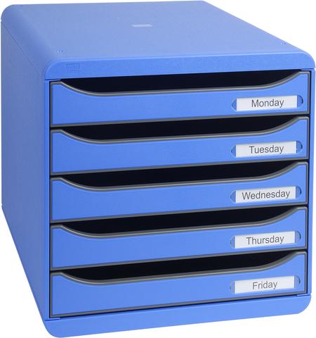 Schubladenbox BIG-BOX PLUS, mit 5 offenen Schubladen, A4+, eisblau