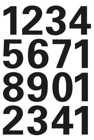 Etikett, 0-9, sk, Folie, Schrifth.: 25 mm, freigestellt, schwarz