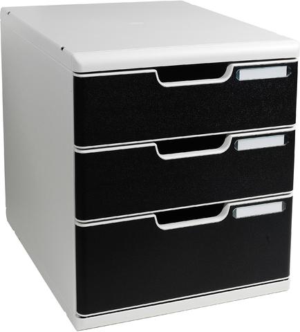 Schubladenbox MODULO, mit 3 Schubladen, A4, lichtgrau/schwarz